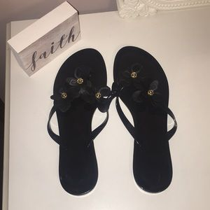 Shoes - Black Jelly Sandals with Flowers!🌺